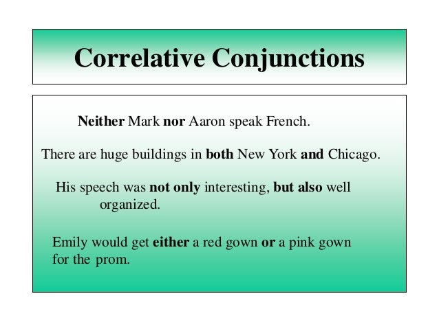 Prepositions powerpoint 1 – Correlative Conjunctions Worksheet