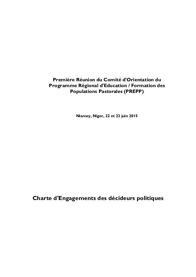 Première Réunion du Comité d'Orientation du Programme Régional d'Education / Formation des Populations Pastorales (PREPP) ...