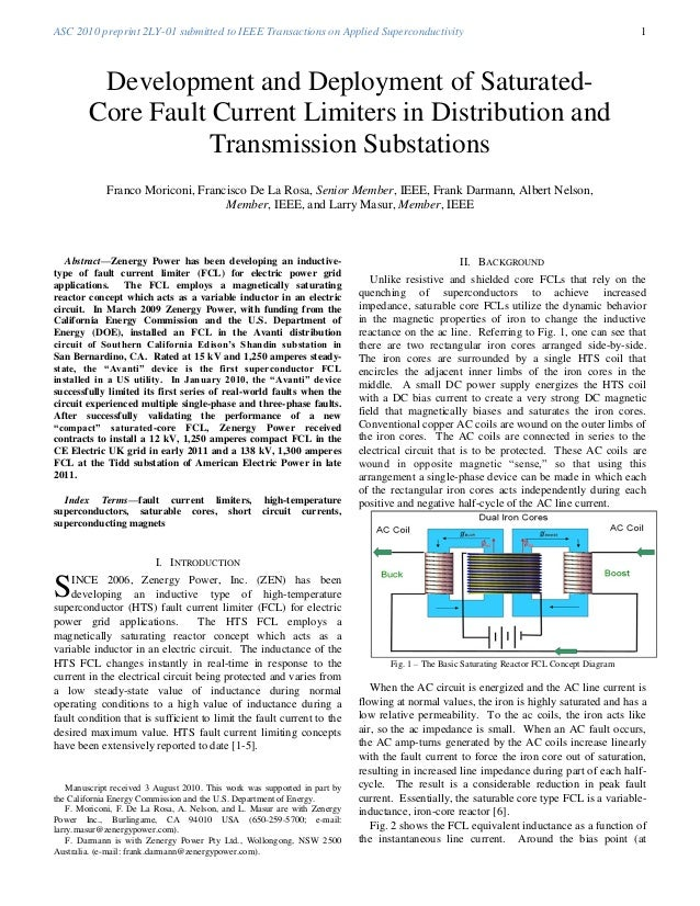 ASC 2010 preprint 2LY-01 submitted to IEEE Transactions on Applied Superconductivity 1Abstract—Zenergy Power has been deve...