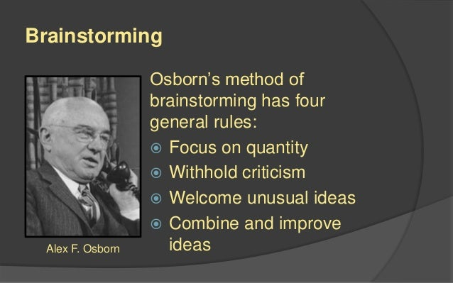 Image result for osborn 4 rules of brainstorming
