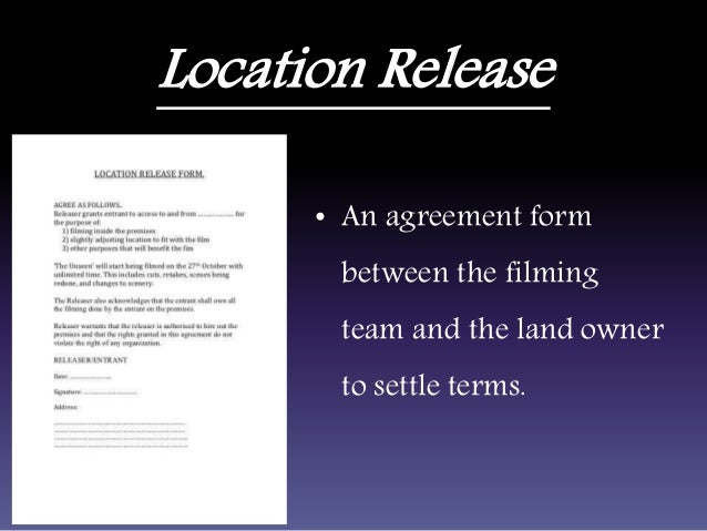 Pre production tools and purposes location release an agreement platinumwayz