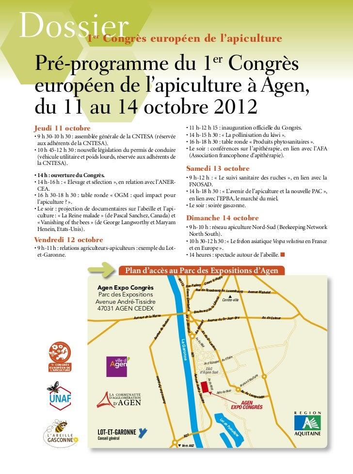 Dossier                 1er Congrès européen de l'apiculture Pré-programme du 1er Congrès européen de l'apiculture à Agen,...