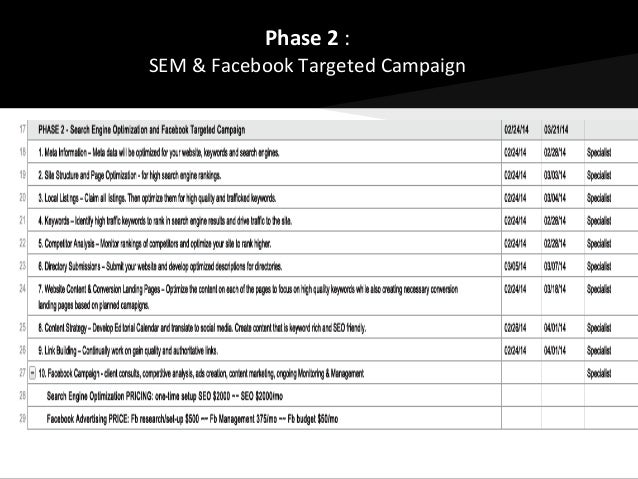 pre-Project Plan: Website & Internet Marketing Strategy
