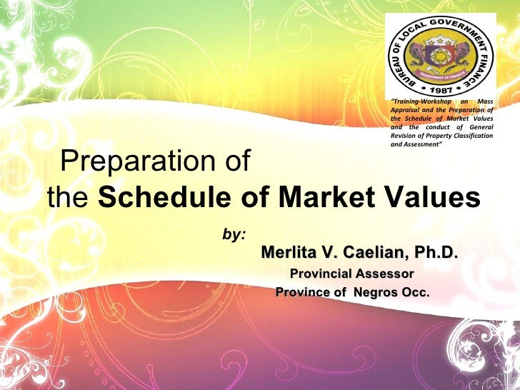 Merlita V. Caelian, Ph.D. Provincial Assessor Province of  Negros Occ. Preparation of  the  Schedule of Market Values by: ...
