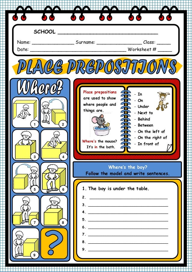PREPOSITIONS OF PLACE WORKSHEET – Prepositions of Place Worksheet