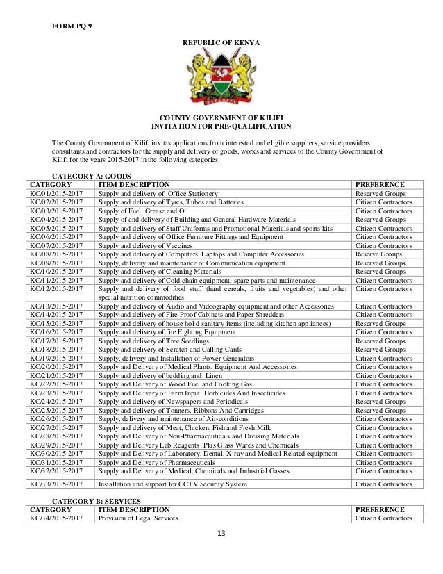 Prequalification document of suppliers of goods, service