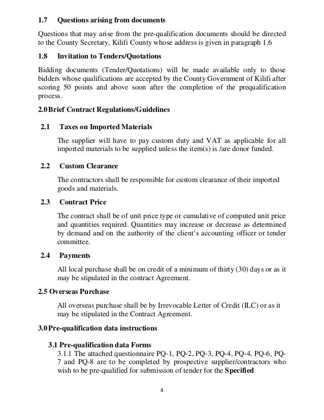 Prequalification document of suppliers of goods, service and works fo…
