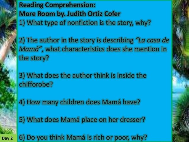 """more room by judith ortiz cofer """"the ashe guy: lower broadway, september 11,  """"more room: judith ortiz cofer""""  why does mama need more room what point is ortiz cofer making about women ."""