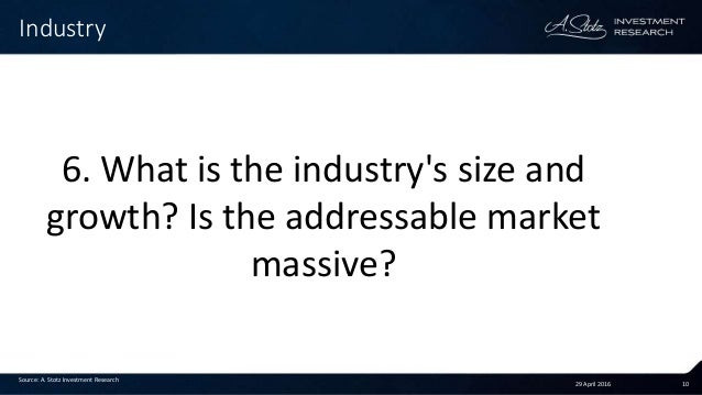 29 April 2016 10 Industry Source: A. Stotz Investment Research 6. What is the industry's size and growth? Is the addressab...