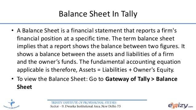 COMPUTER ACCOUNTING SOFTWARE TALLY – Professional Balance Sheet
