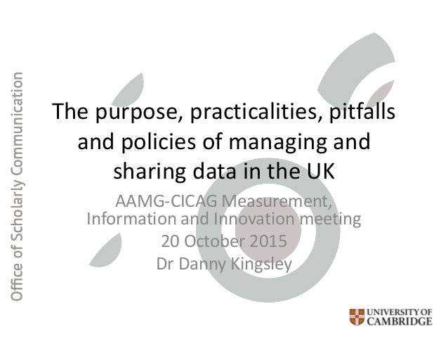 The purpose, practicalities, pitfalls and policies of managing and sharing data in the UK AAMG-CICAG Measurement, Informat...