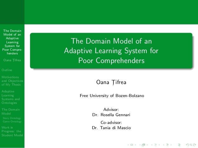 The Domain Model of an  Adaptive  Learning System for                  The Domain Model of anPoor Compre-  henders        ...