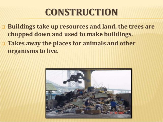 CONSTRUCTION     Buildings take up resources and land, the trees are chopped down and used to make buildings. Takes away...