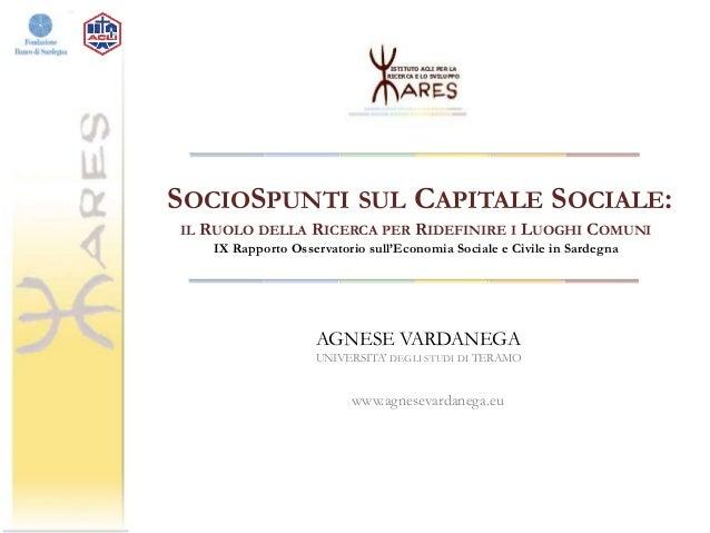 Seminario IARES sul Capitale Sociale in Sardegna 12/12/2013 Slide 2