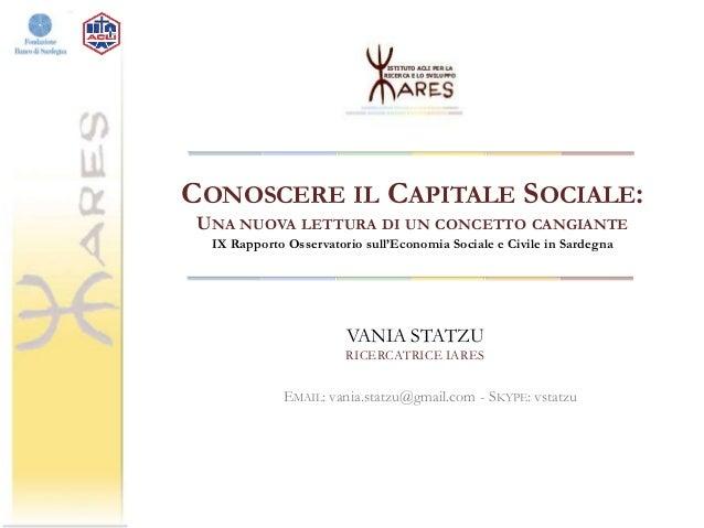 Seminario IARES sul Capitale Sociale in Sardegna 12/12/2013 Slide 3