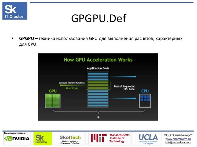 GPGPU.Def • GPGPU – техника использования GPU для выполнения расчетов, характерных для CPU