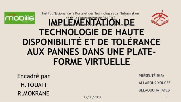 Institut National de la Poste et des Technologies de l'Information et de la Communication (INPTIC) Option: Télécommunicati...