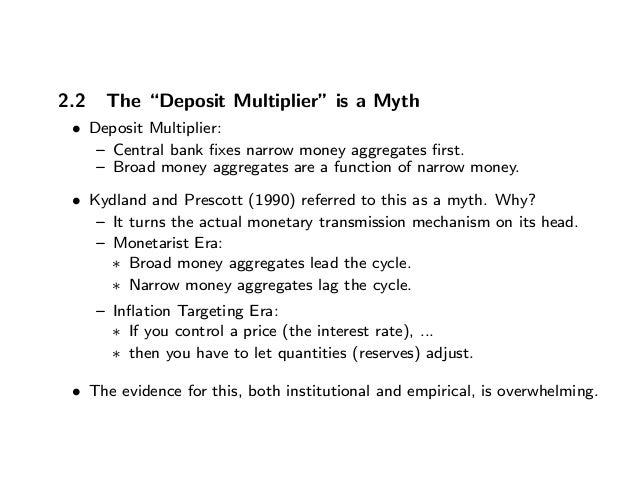 """2.2 The """"Deposit Multiplier"""" is a Myth • Deposit Multiplier: — Central bank fixes narrow money aggregates first. — Broad mon..."""