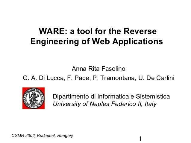 WARE: a tool for the Reverse        Engineering of Web Applications                      Anna Rita Fasolino     G. A. Di L...