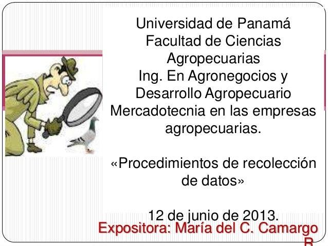 Expositora: María del C. CamargoUniversidad de PanamáFacultad de CienciasAgropecuariasIng. En Agronegocios yDesarrollo Agr...