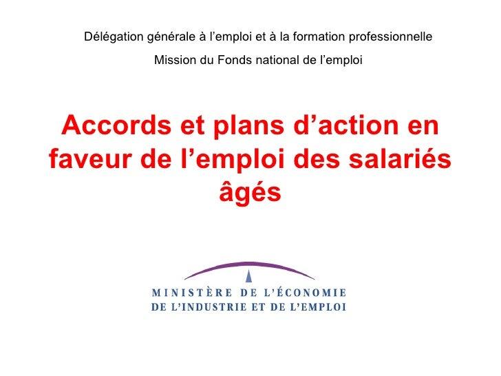 Délégation générale à l'emploi et à la formation professionnelle               Mission du Fonds national de l'emploi      ...