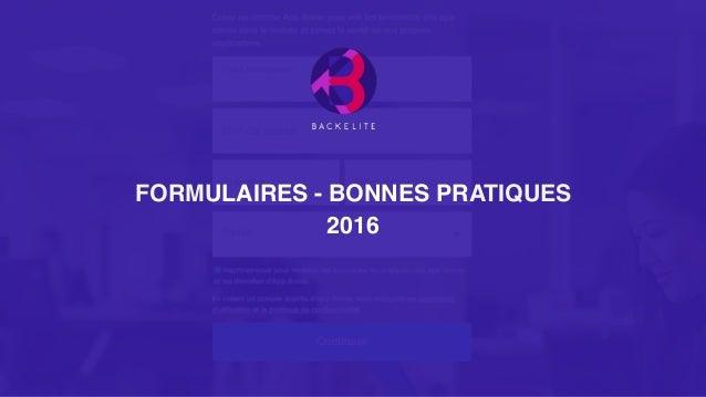 FORMULAIRES - BONNES PRATIQUES 2016
