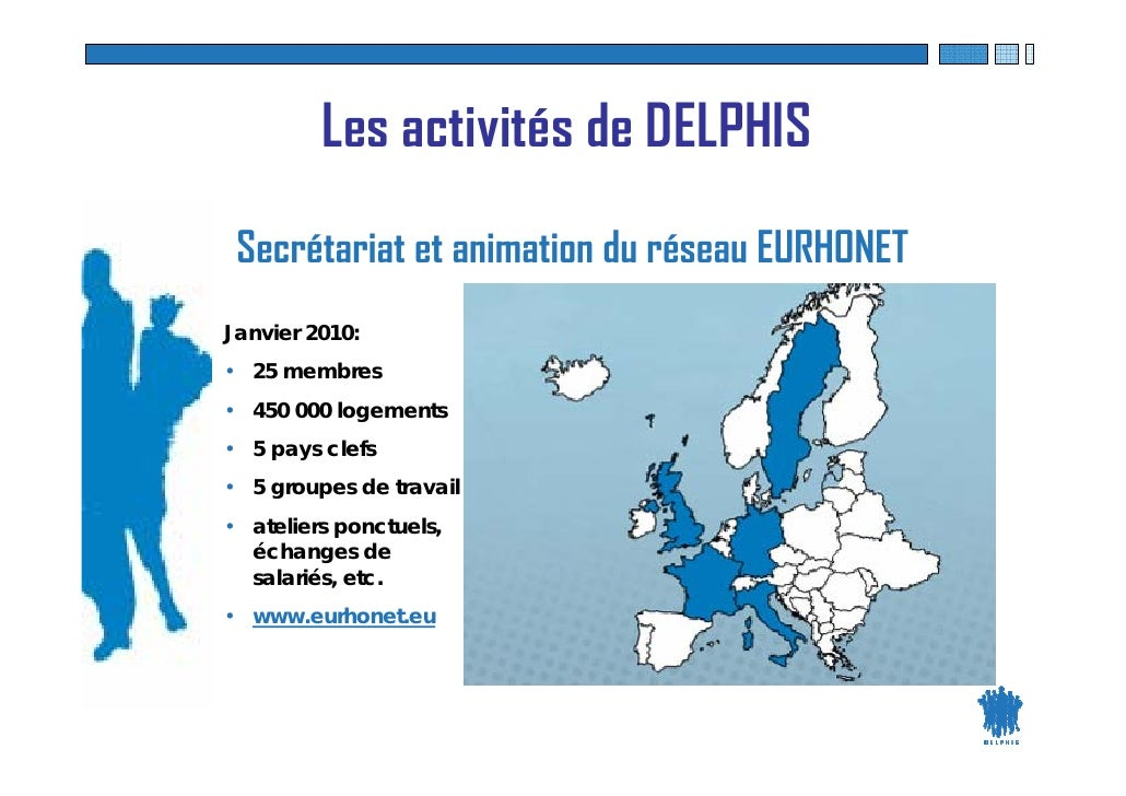 Les activités de DELPHIS  Secrétariat et animation du réseau EURHONET Janvier 2010: • 25 membres • 450 000 logements • 5 p...