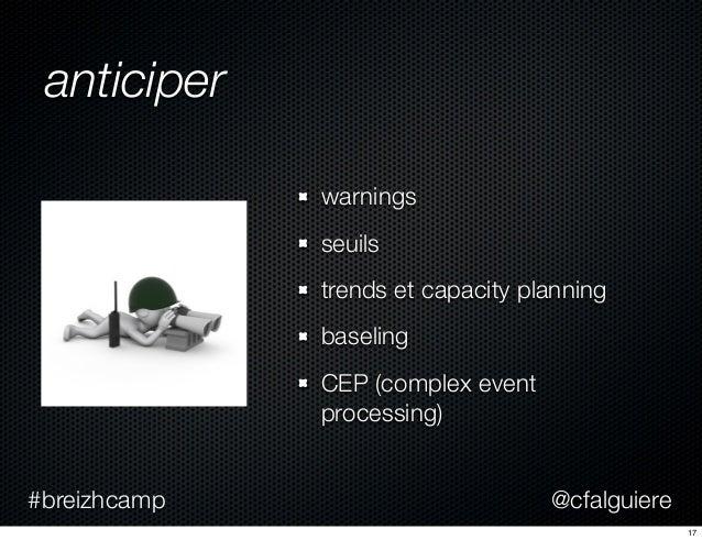 @cfalguiere#breizhcamp anticiper warnings seuils trends et capacity planning baseling CEP (complex event processing) 17