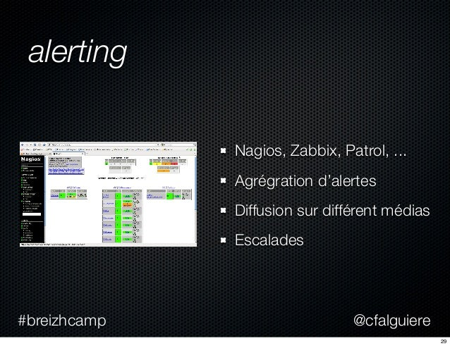 @cfalguiere#breizhcamp alerting Nagios, Zabbix, Patrol, ... Agrégration d'alertes Diffusion sur différent médias Escalades...