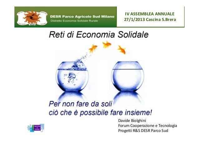 IV ASSEMBLEA ANNUALE   27/1/2013 Cascina S.BreraDavide BiolghiniForum Cooperazione e TecnologiaProgetti R&S DESR Parco Sud