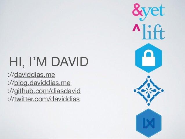 HI, I'M DAVID ://daviddias.me  ://blog.daviddias.me  ://github.com/diasdavid  ://twitter.com/daviddias