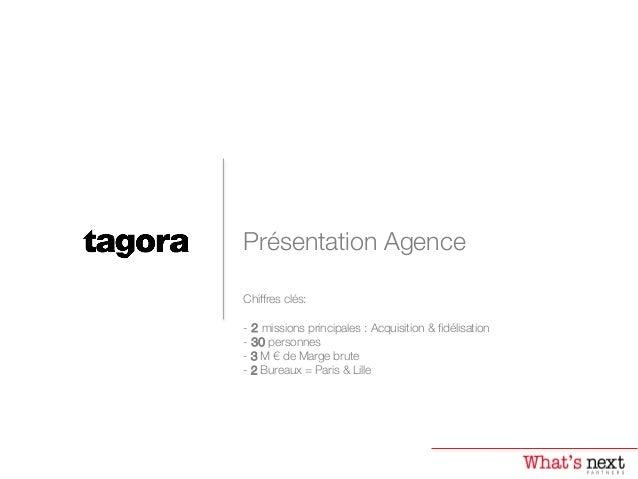 Présentation Agence Chiffres clés:   - 2 missions principales : Acquisition & fidélisation  - 30 personnes - 3 M € de Ma...