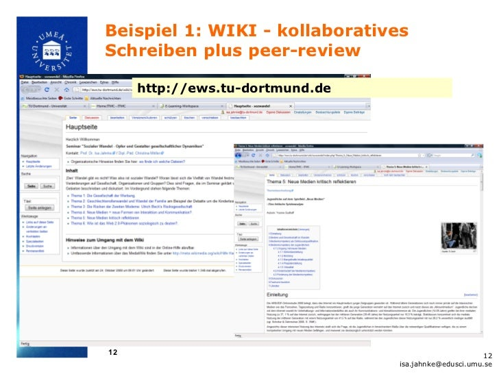 Beispiel 1: WIKI - kollaborativesSchreiben plus peer-review     http://ews.tu-dortmund.de12                               ...