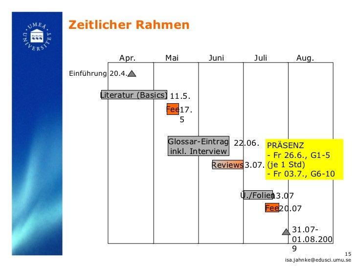 Zeitlicher Rahmen             Apr.        Mai        Juni       Juli          Aug.Einführung 20.4.        Literatur (Basic...