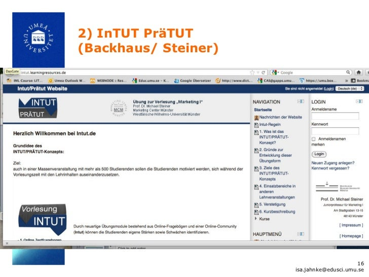 2) InTUT PräTUT(Backhaus/ Steiner)                                            16                      isa.jahnke@edusci.um...