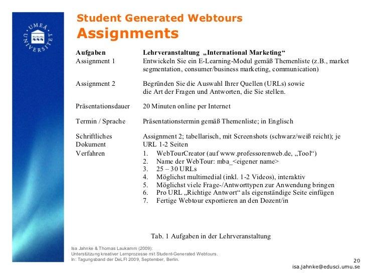 "Student Generated Webtours  Assignments  Aufgaben                       Lehrveranstaltung ""International Marketing""  Assig..."