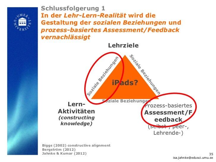 Schlussfolgerung 1In der Lehr-Lern-Realität wird dieGestaltung der sozialen Beziehungen undprozess-basiertes Assessment/Fe...