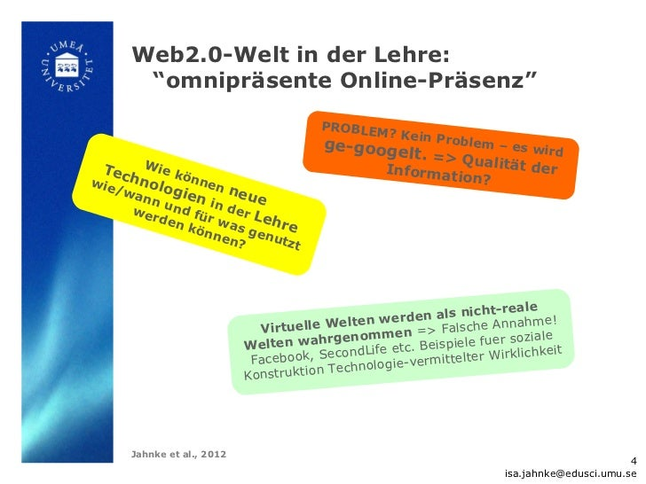 "Web2.0-Welt in der Lehre:      ""omnipräsente Online-Präsenz""                                        P R O BL E M          ..."