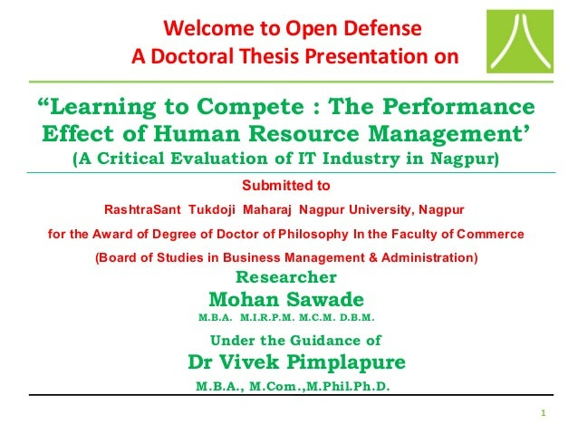 "1 ""Learning to Compete : The Performance Effect of Human Resource Management' (A Critical Evaluation of IT Industry in Nag..."
