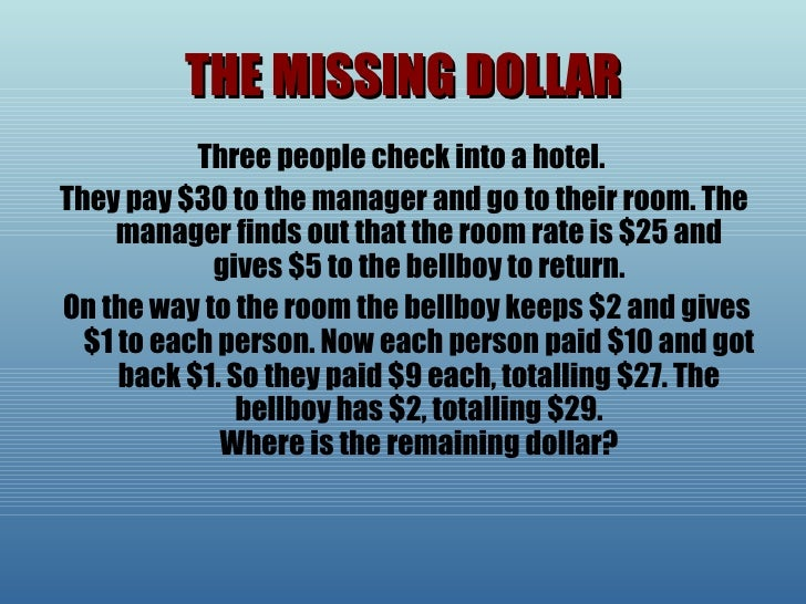 30 dollar hotel room riddle