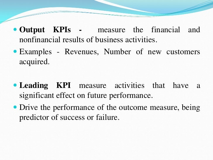  Qualitative KPI - A descriptive characteristic, an  opinion, a property or a trait. Examples are employee satisfaction ...