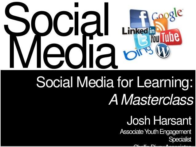 SocialMedia Social Media for Learning:            A Masterclass                Josh Harsant              Associate Youth E...