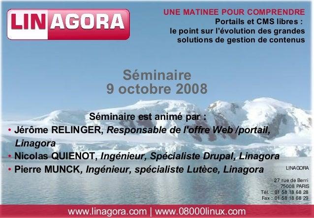 LINAGORA 27 rue de Berri 75008 PARIS Tél. : 01 58 18 68 28 Fax : 01 58 18 68 29 www.linagora.com | www.08000linux.com UNE ...