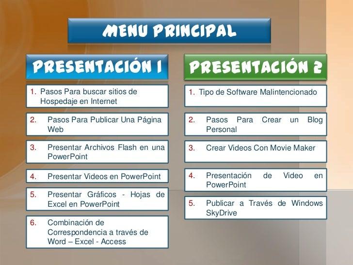 MENU PRINCIPAL<br />Presentación 1<br />Presentación 2<br />Pasos Para buscar sitios de Hospedaje en Internet<br />Tipo de...