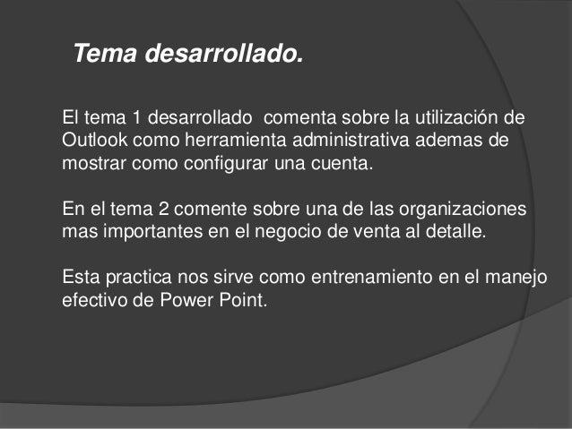 MENU PRESENTACION 1 1.1 USO DEL MICROSOFT OUTLOOK COMO HERRAMIENTA ADMINITRISTIVA. 1.2 PROCESO DE CONFIGURAR UNA CUENTA. 1...