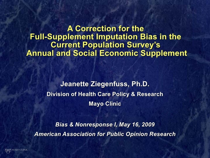 A Correction for the  Full-Supplement Imputation Bias in the  Current Population Survey's  Annual and Social Economic Supp...