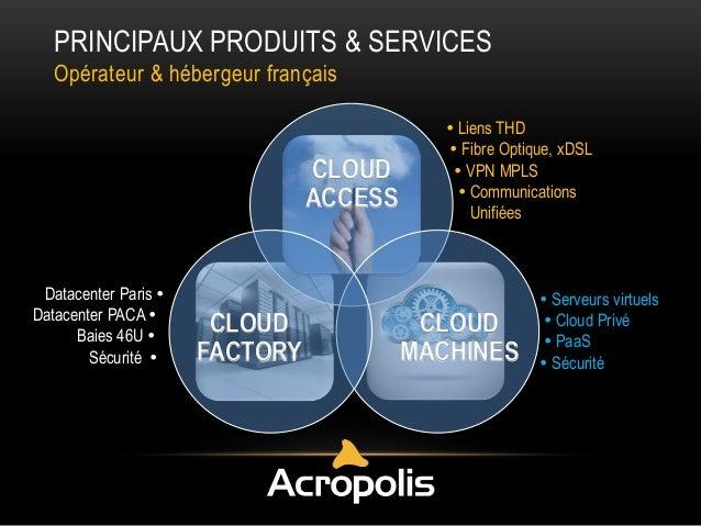PRINCIPAUX PRODUITS & SERVICES Opérateur & hébergeur français  CLOUD ACCESS  Datacenter Paris  Datacenter PACA  Baies 46...