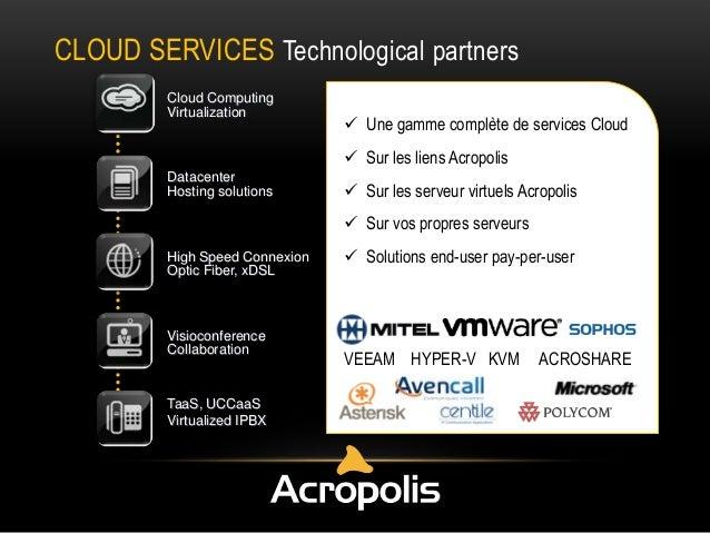 CLOUD SERVICES Technological partners Cloud Computing Virtualization   Une gamme complète de services Cloud  Sur les lie...