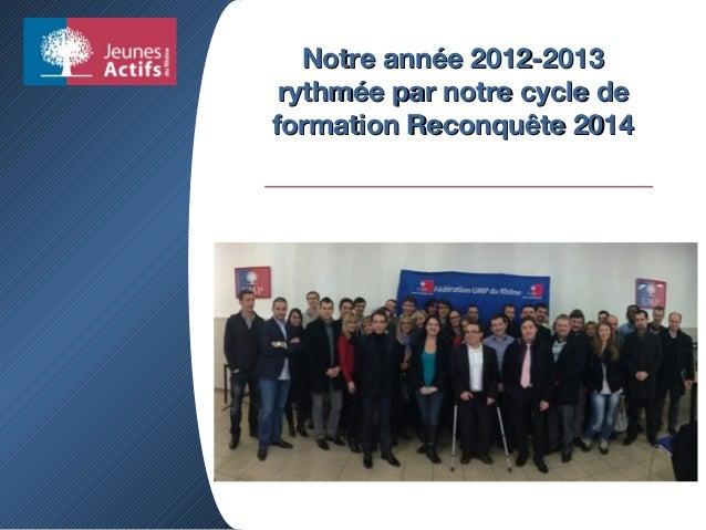 Notre année 2012-2013Notre année 2012-2013 rythmée par notre cycle derythmée par notre cycle de formation Reconquête 2014f...