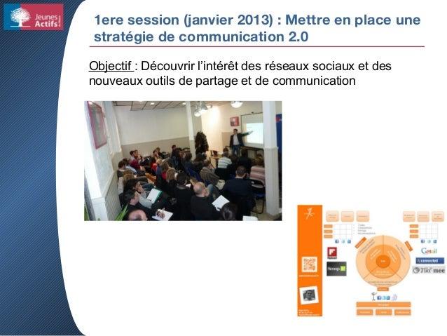 1ere session (janvier 2013) : Mettre en place une stratégie de communication 2.0 Objectif : Découvrir l'intérêt des réseau...